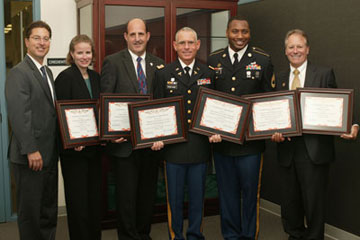 Group Photo – Todd G. Friedland, Kerith Dilley, Colonel James Gabrielli, Lieutenant Colonel Chad Vogelsang, Sergeant First Class